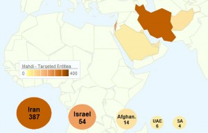 foto dei paesi colpiti dal malware Mahdi